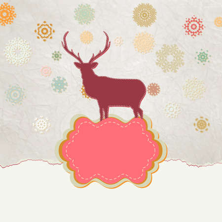 Beautiful Christmas deer greeting card  Vector