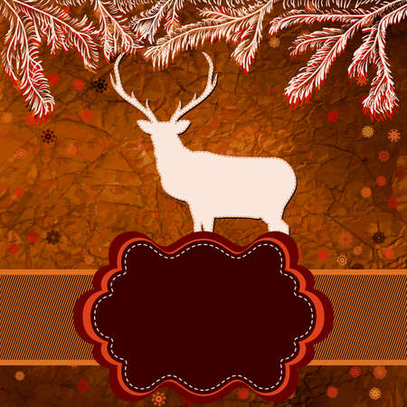 Christmas deer template card Stock Vector - 15906384
