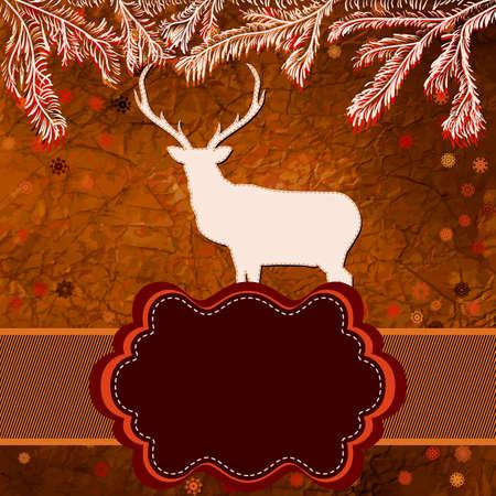 Christmas deer template card Stock Vector - 15906384