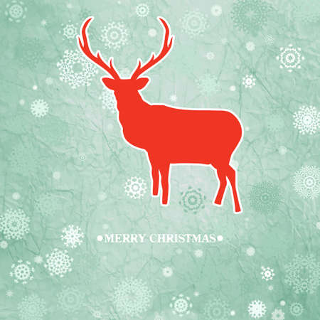 Christmas deer template card  Illustration