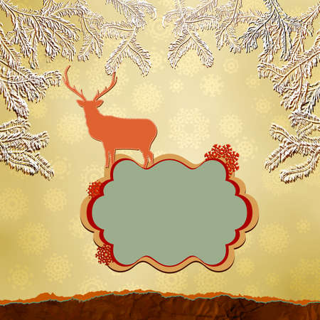 Christmas deer template card  Stock Vector - 15906390