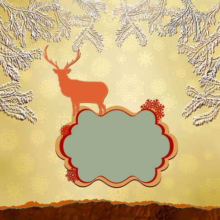 Christmas deer template card Stock Vector - 15906390