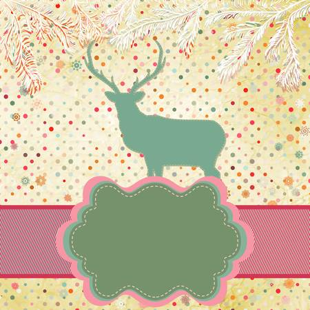 Beautiful Christmas deer greeting card