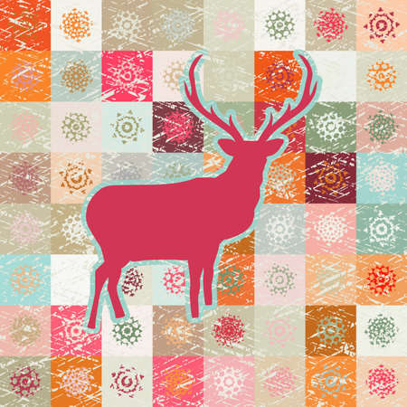 Greeting card with reindeer Vector