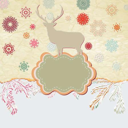 Christmas deer template card  Stock Vector - 15906275