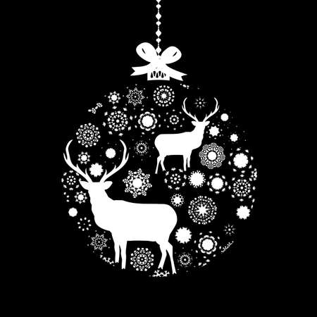Black and White Christmas ball Stock Vector - 15906389