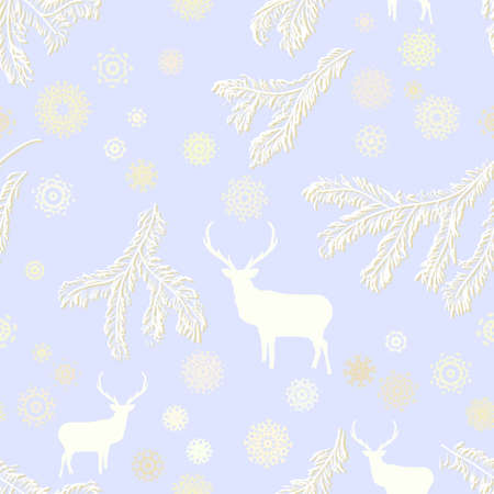 Vintage christmas deer, seamless  EPS 8 Vector
