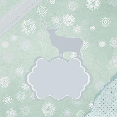 Christmas deer tempate card Stock Vector - 15966597