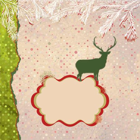 Christmas deer tempate card  EPS 8 Stock Vector - 15966576