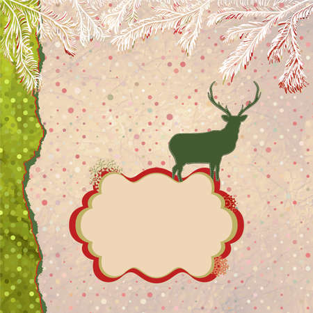 Christmas deer tempate card  EPS 8 Stock Vector - 15966576
