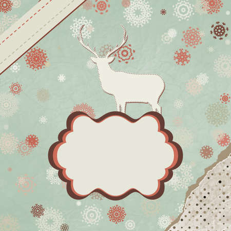 Santa Claus Deer vintage Christmas card Stock Vector - 15966587