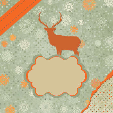 Santa Claus Deer vintage Christmas card Stock Vector - 15966616