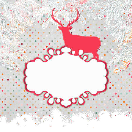 Christmas deer tempate card Stock Vector - 15966783