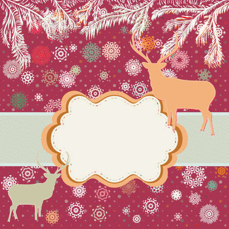 Christmas deer template card  Stock Vector - 16077317