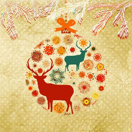 Santa Claus Deer vintage Christmas card  EPS 8 Stock Vector - 16157869