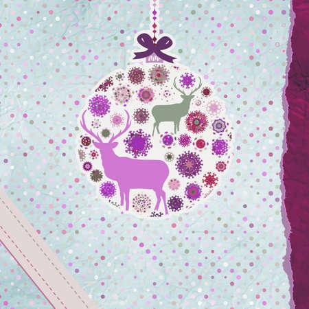 Santa Claus Deer vintage Christmas card Stock Vector - 16157874