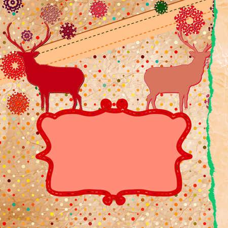 Christmas deer template card  Stock Vector - 16157887