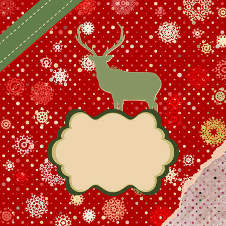 Christmas deer template card  Stock Vector - 16157895