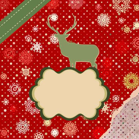Christmas deer template card Stock Vector - 16157895