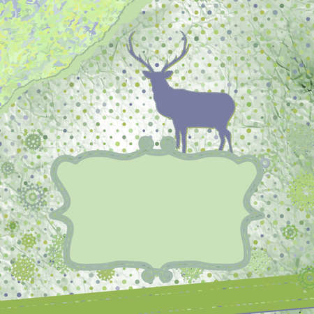 Santa Claus Deer vintage Christmas card   Stock Vector - 16251606