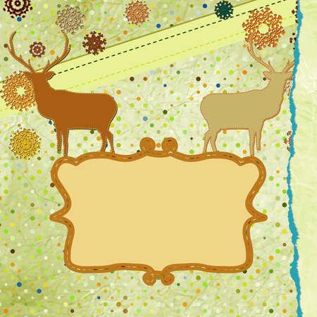 Christmas deer tempate card   Stock Vector - 16251608