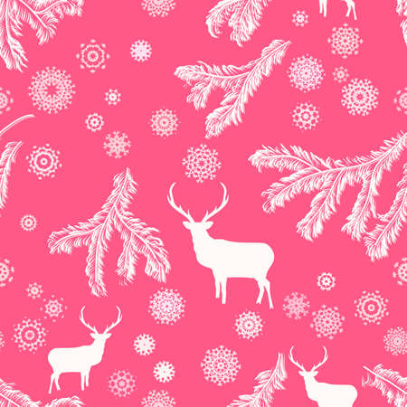 Christmas deer, seamless illustration  Vector
