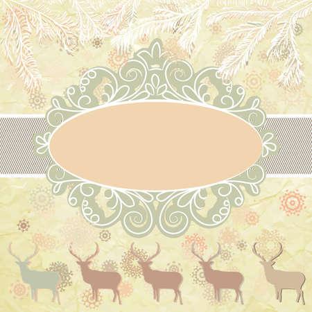 Christmas deer tempate card Stock Vector - 16388915