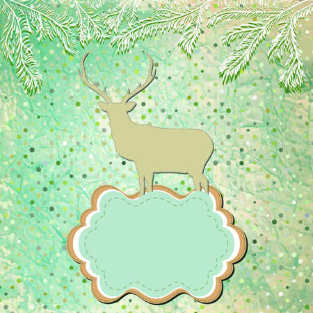 Christmas deer template card   Stock Vector - 16454087