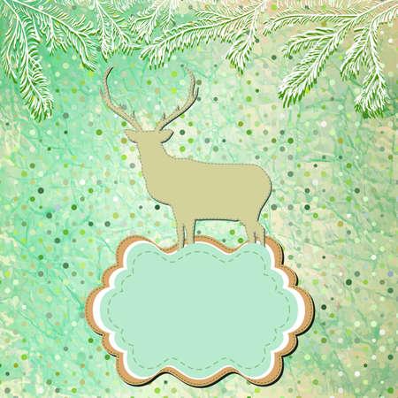 Christmas deer template card Stock Vector - 16454087