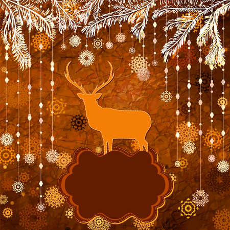 Santa Claus Deer vintage Christmas card  EPS 8 Stock Vector - 16471486