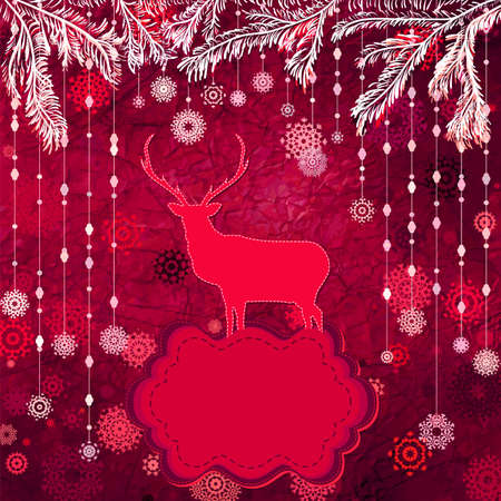 Santa Claus Deer vintage Christmas card  EPS 8 Stock Vector - 16516500