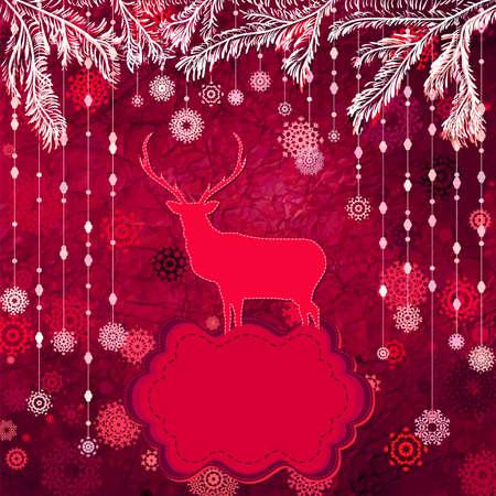 Santa Claus Deer vintage Christmas card  EPS 8 Stock Vector - 16516500