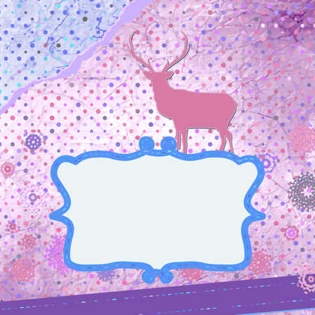 Santa Claus Deer vintage Christmas card  Stock Vector - 16641358