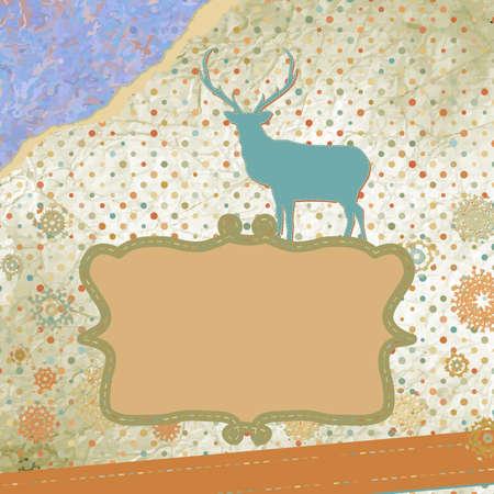 Santa Claus Deer vintage Christmas card Stock Vector - 16714568
