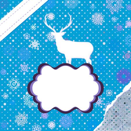 Christmas deer template card Stock Vector - 16810028
