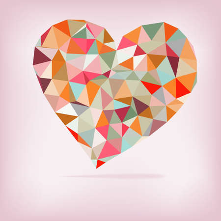 Retro heart made from color triangles