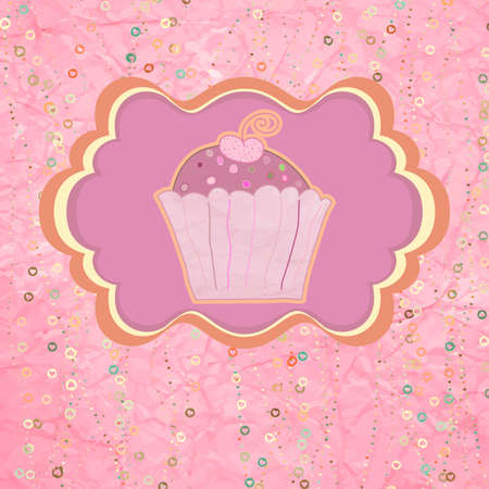 Label with cupcake on pink with polka dots  EPS 8 Stock Vector - 17874256