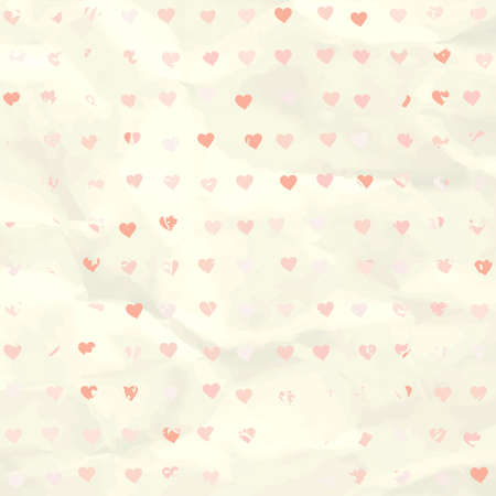 Watercolor heart pattern on paper texture  EPS 8 Illustration