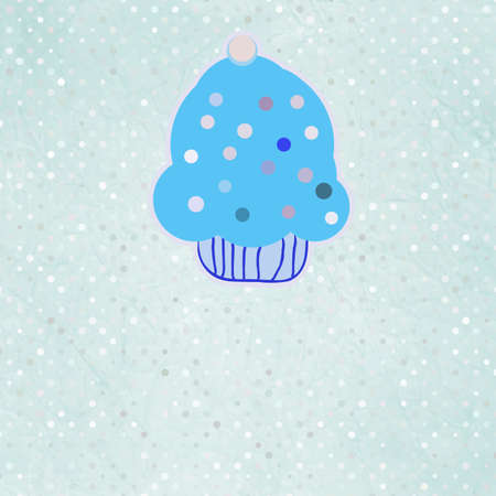 Background with cupcake and polka dot   Vector
