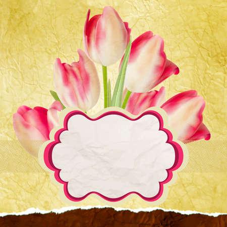Vintage tulips polka dot template Vector