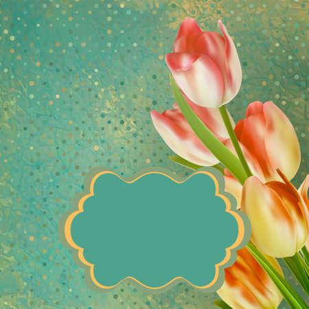 Retro floral con tulipanes de lunares