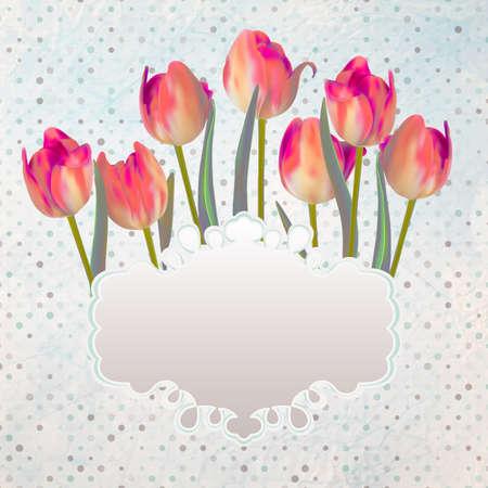 Vintage postcard with a beautiful tulips with copyspace. And also includes  Vector