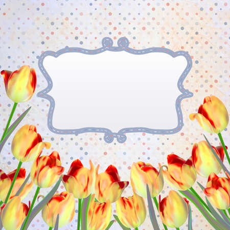 Vintage tulips card with polka dot. And also includes Vector