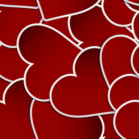 Red Hearts Paper Sticker With Shadow. And also includes EPS 10 vector photo