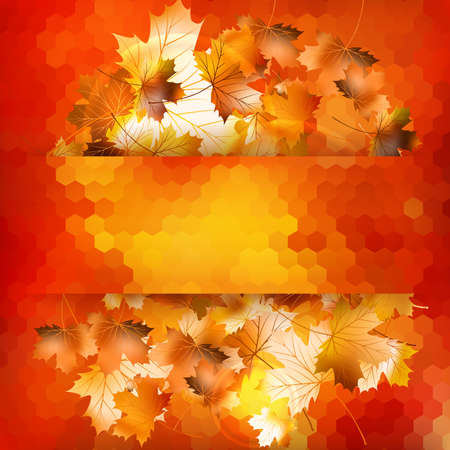 Colorful geometric background card with maple leave enjoy autumn sales. And also includes EPS 10 vector photo