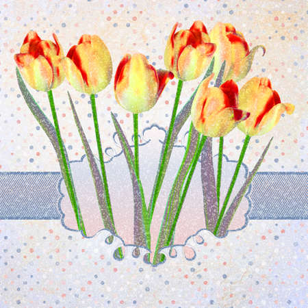 Vintage tulips card with polka dot. And also includes EPS 10 vector photo