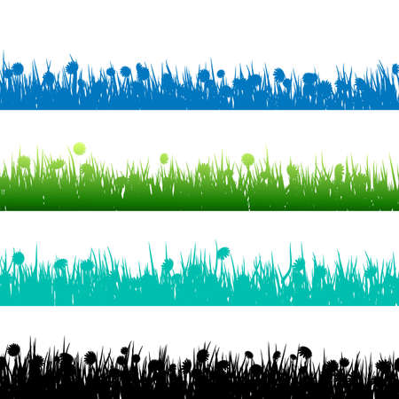 untamed: La hierba y las plantas de siluetas detalladas sobre blanco. Y tambi�n incluye EPS 10 vector