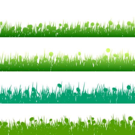 untamed: La hierba y las plantas de siluetas detalladas sobre blanco.