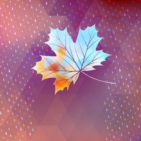 Geometric background card with maple leaf. EPS 10 vector Vector