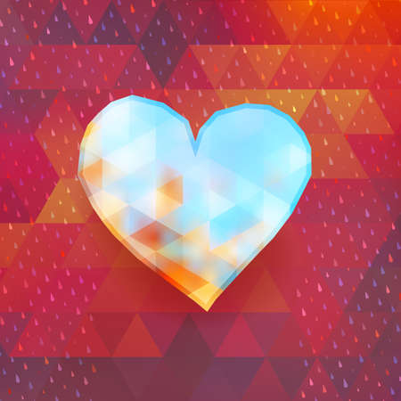 Heart on colorful triangle background. And also includes EPS 10 vector Vector
